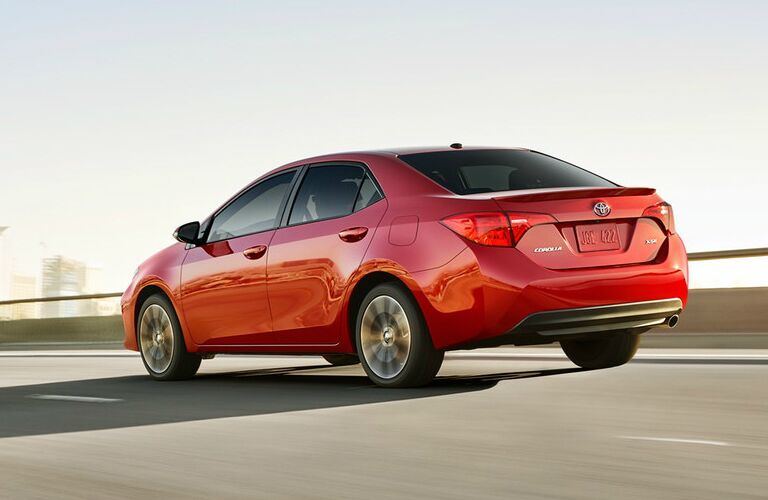 Rear View of Red 2019 Toyota Corolla