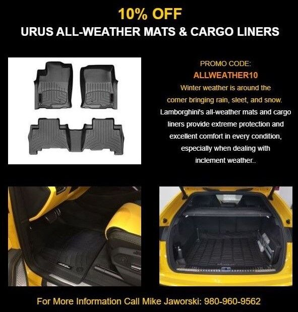 10% Off Urus All-Weather Mats & Cargo Liners