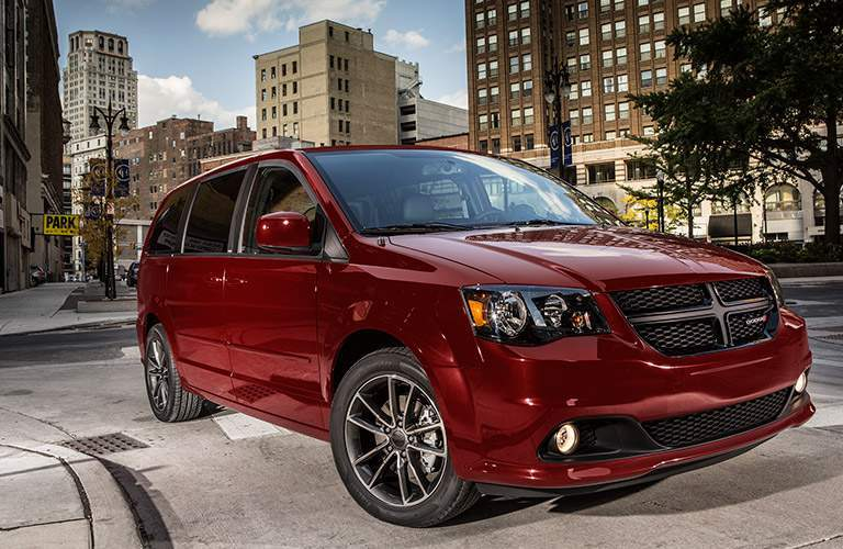 2017 Dodge Grand Caravan red side view