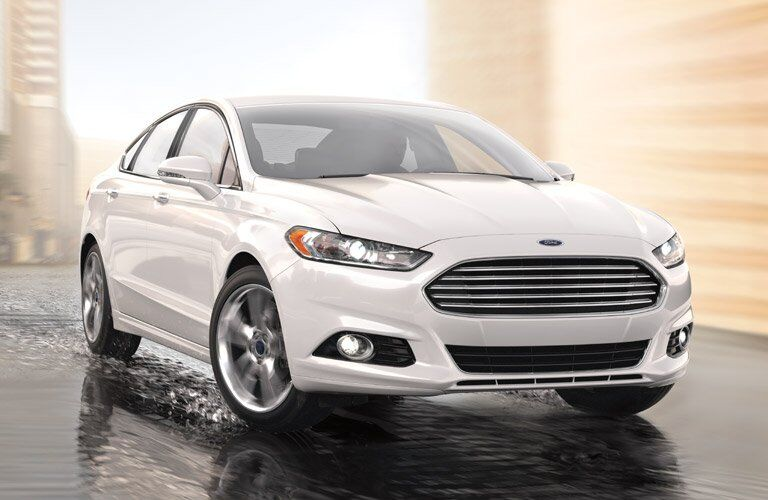 Ford Fusion on wet road
