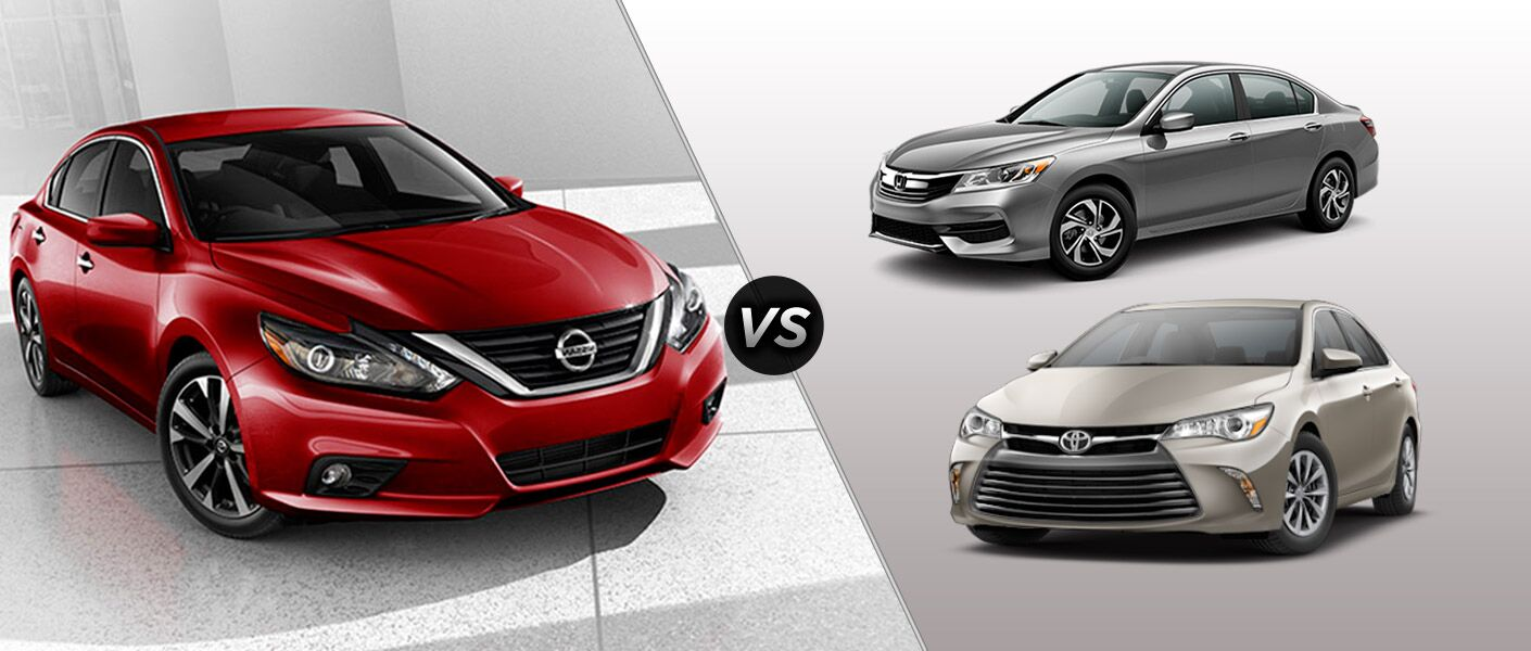2016 Nissan Altima vs. 2016 Honda Accord vs. 2016 Toyota Camry midsize sedans IIHS Top Safety Picks mood lights V6 engines Arlington Nissan of Arlington Heights Palatine Schaumburg Buffalo Grove Chicago IL