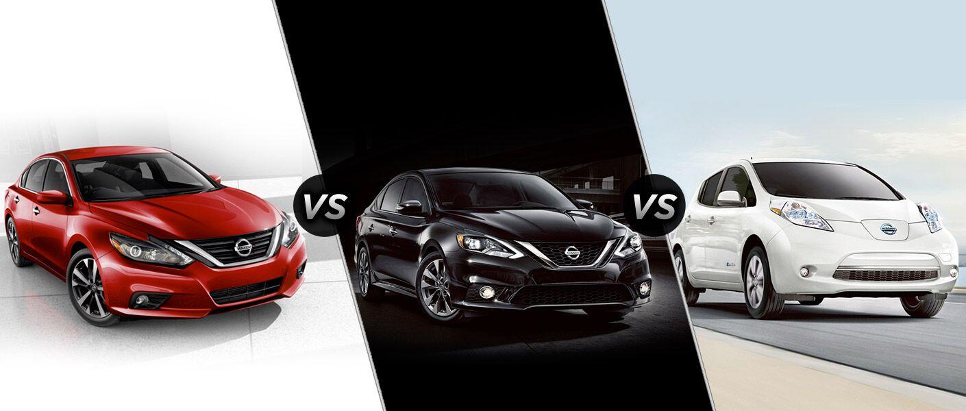 2016 Nissan Altima vs. 2016 Nissan Sentra vs. 2016 Nissan LEAF sedans Arlington Heights IL