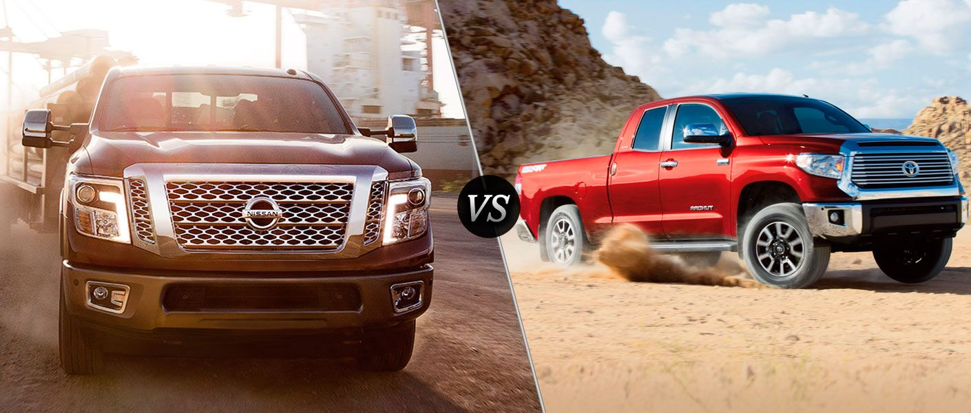 2016 Nissan Titan vs. 2016 Toyota Tundra trucks 555 lb-ft of torque V8 engine class-leading towing capacity for Titan Cars.com Truck of the Year Arlington Nissan Arlington Heights Chicago Palatine Buffalo Grove Schaumburg IL