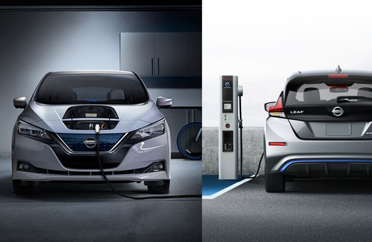 2018 nissan leaf being charged at home garage and public station