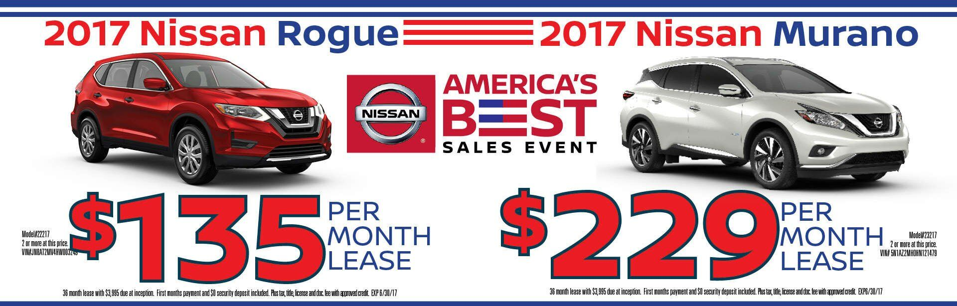 America's Best sales event lease offers for 2017 Altima Rogue Sentra Murano Chicago IL