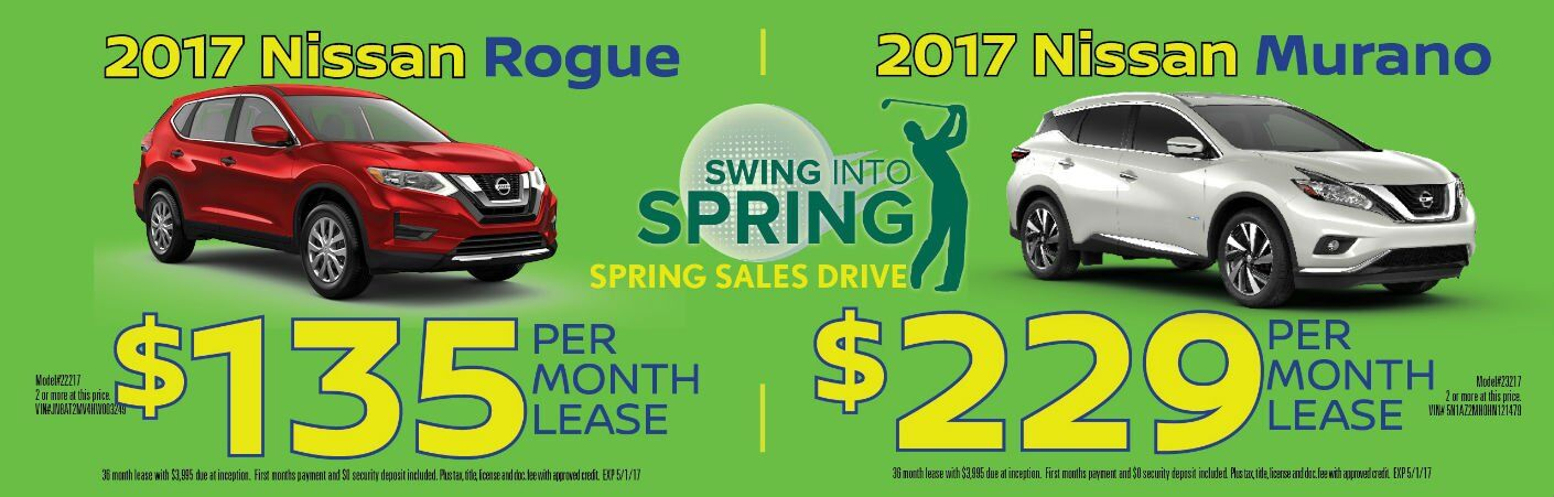 2017 Nissan Rogue 2017 Nissan Murano SUVs Swing Into Spring lease specials Chicago IL