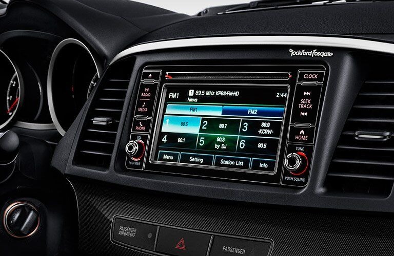 2017 Mitsubishi Lancer touchscreen close up