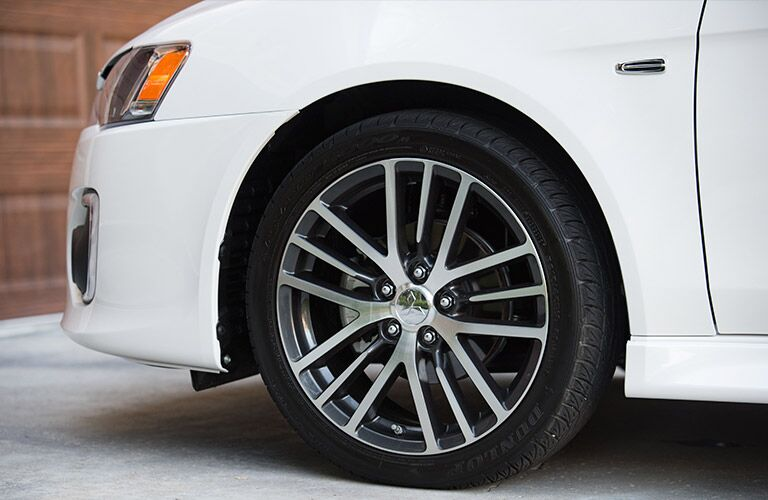 white 2017 Mitsubishi Lancer wheel closeup