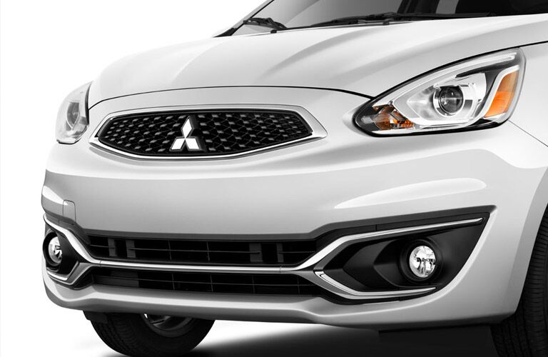 white 2017 Mitsubishi Mirage front grille and headlights