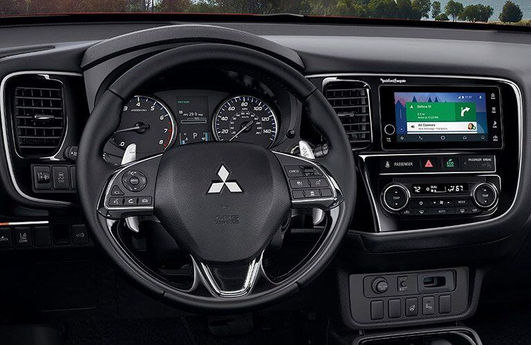 View of the steering wheel of the 2017 Mitsubishi Outlander