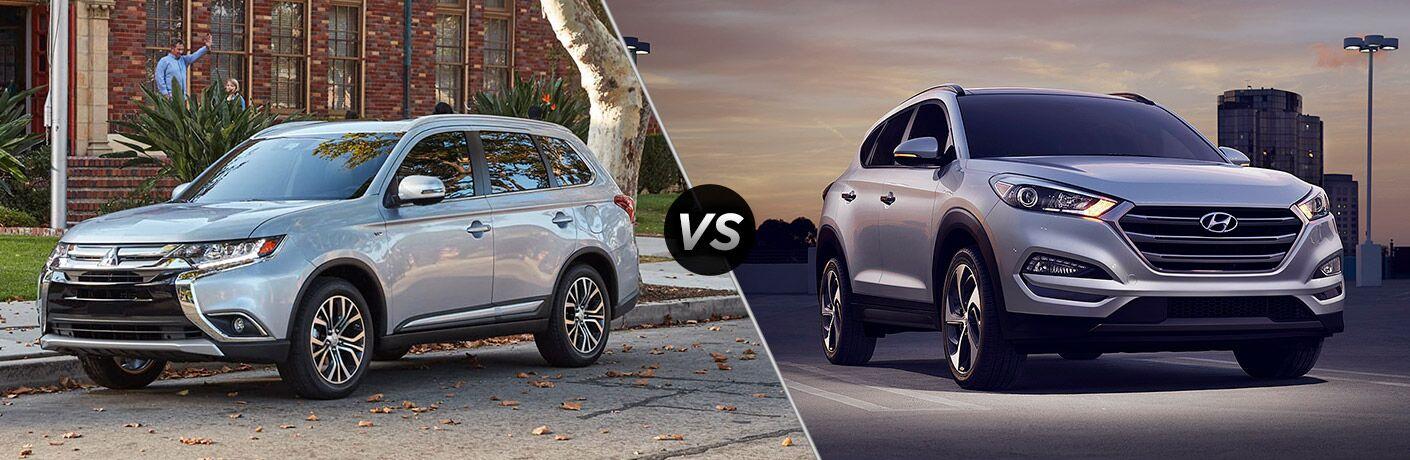 silver 2017 Mitsubishi Outlander and silver 2017 Hyundai Tucson exteriors