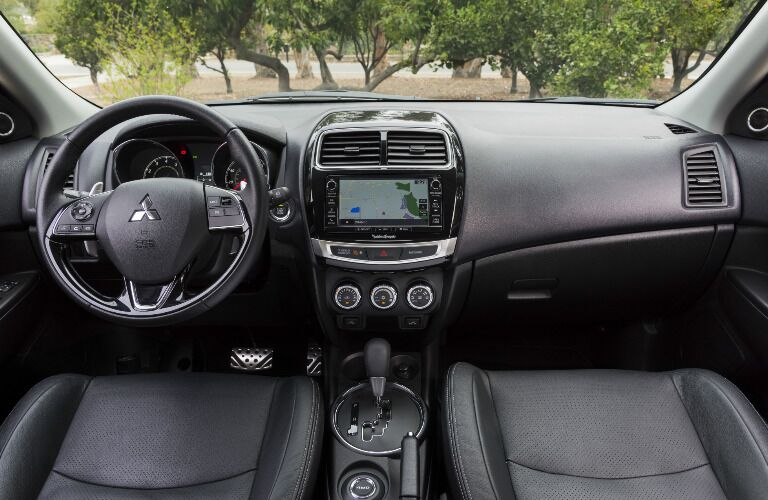 2017 Mitsubishi Outlander Sport interior steering wheel and dashboard