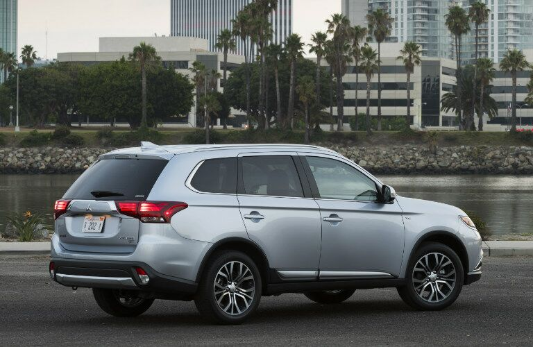 silver 2017 Mitsubishi Outlander parked near water side angle