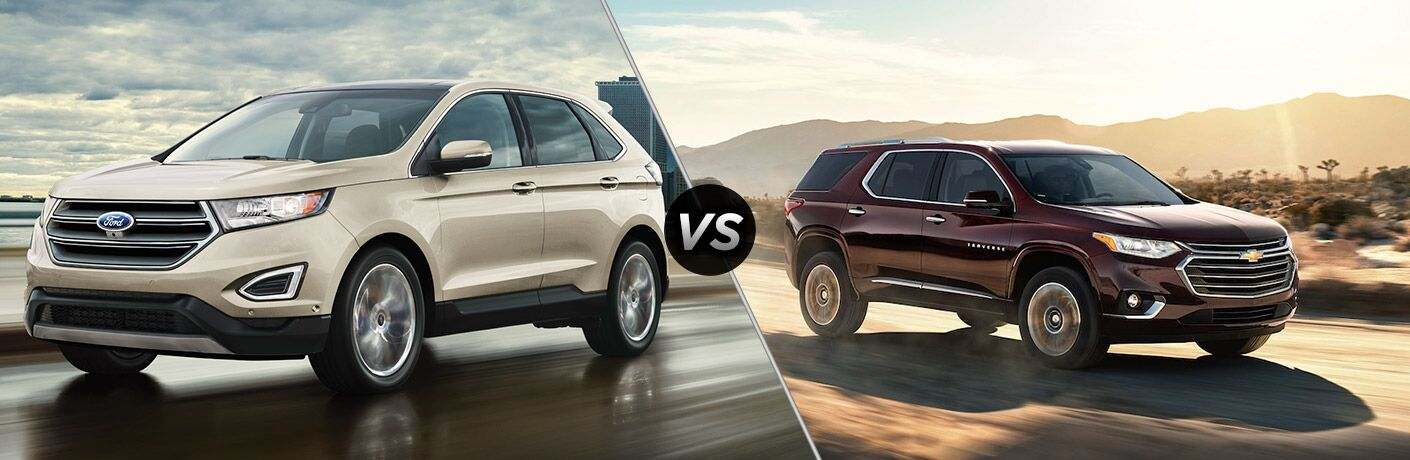 2018 Ford Edge positioned next to 2018 Chevrolet Traverse in comparison image