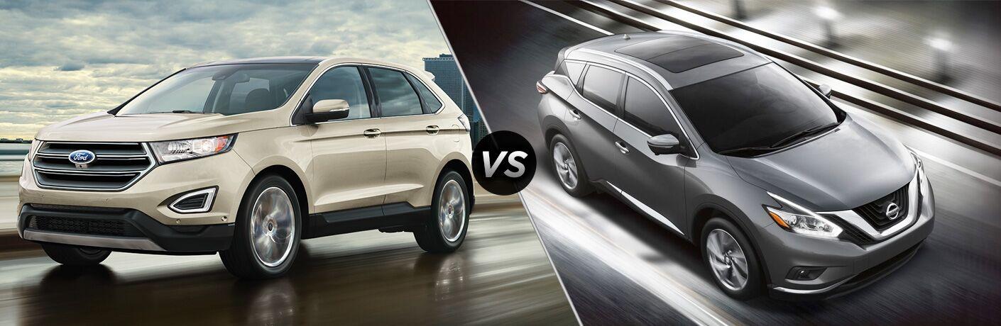 Tan Ford Edge next to gray Nissan Murano in comparison image