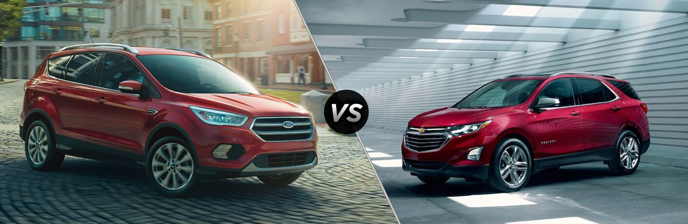 Red 2018 Ford Escape and 2018 Chevrolet Equinox models positioned next to each other in comparison image