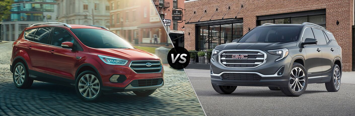 Red 2018 Ford Escape and black 2018 GMC Terrain positioned next to each other in comparison image