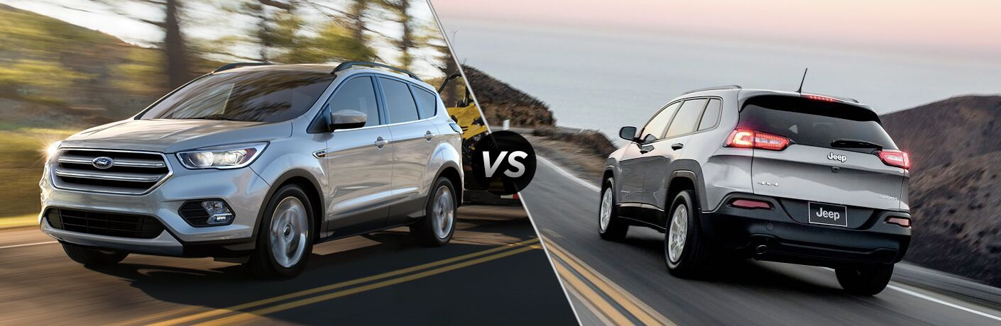 Silver Ford Escape and Jeep Cherokee positioned next to each other in comparison image