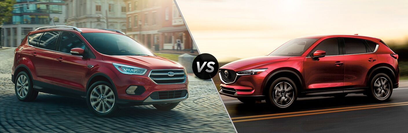 Red Ford Escape and Mazda CX-5 models next to each other in comparison image