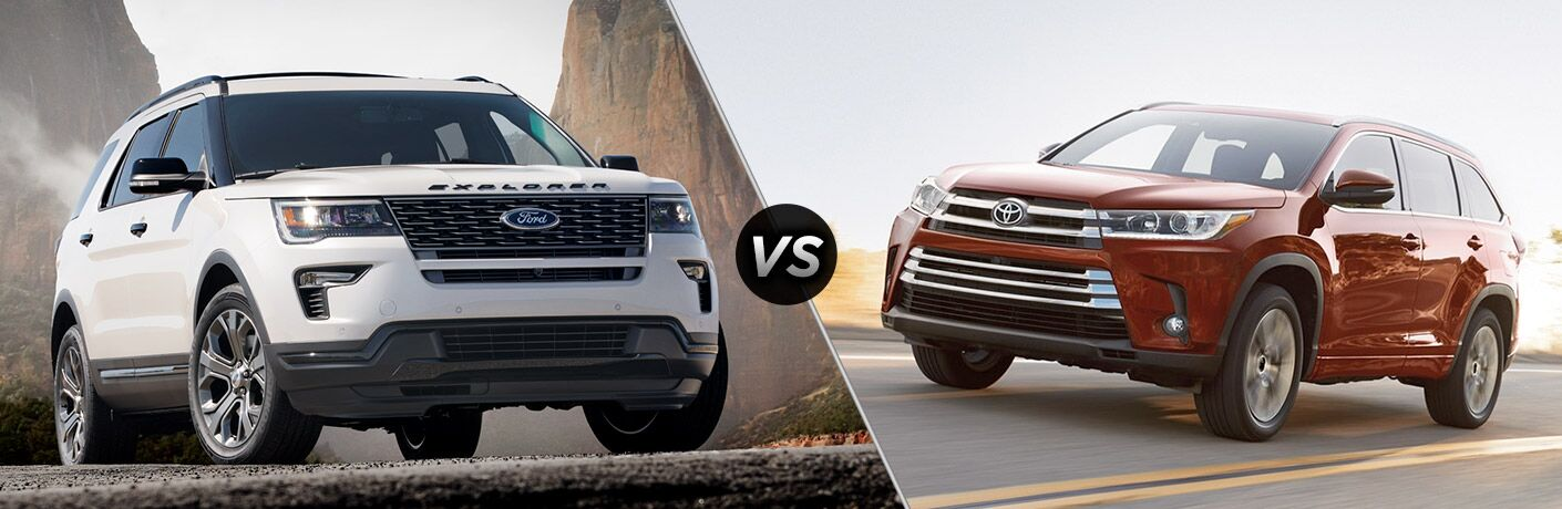 White 2018 Ford Explorer positioned next to red 2018 Toyota Highlander in comparison image