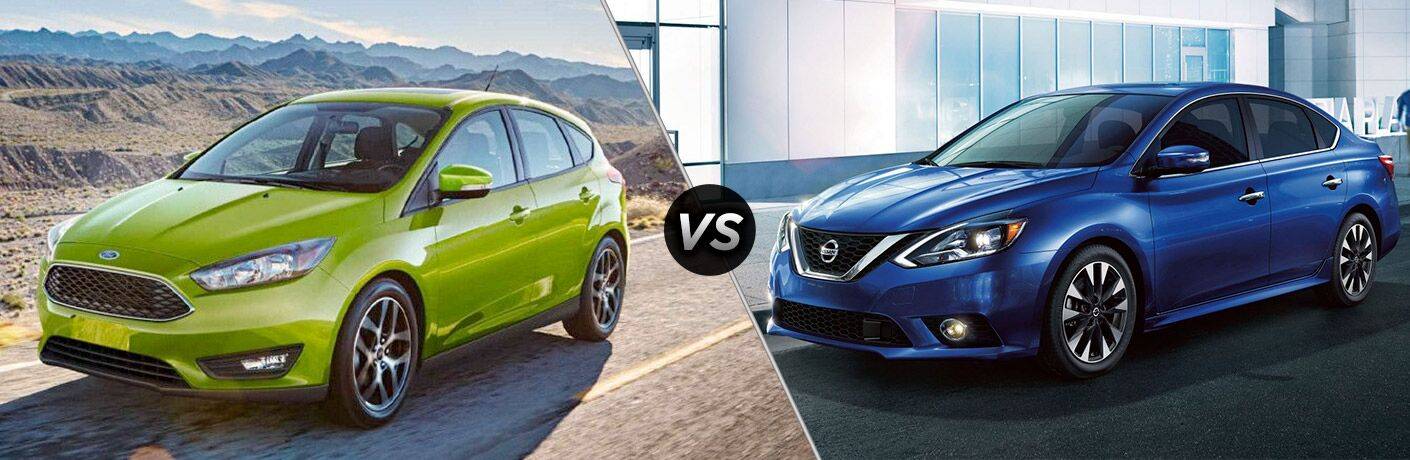 Green 2018 Ford Focus next to blue 2018 Nissan Sentra in comparison image