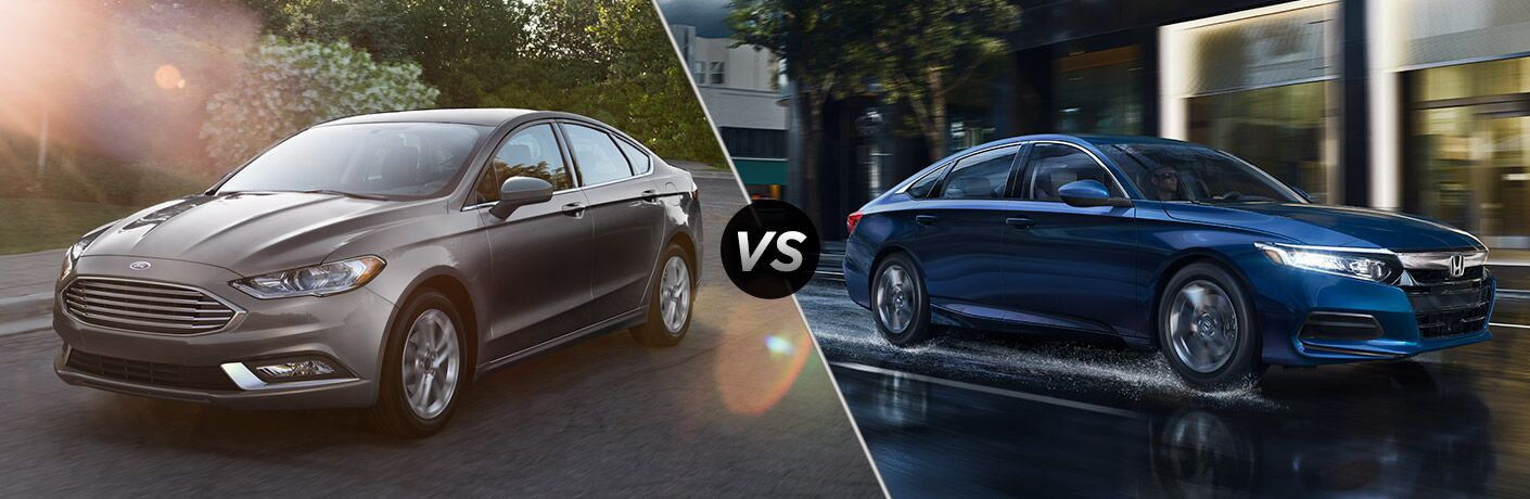Gray Ford Fusion positioned next to blue Honda Accord in comparison image
