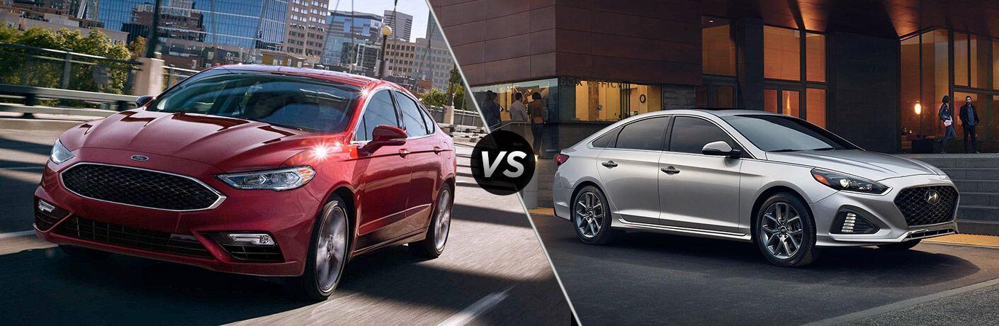 Red 2018 Ford Fusion next to silver 2018 Hyundai Sonata in comparison image