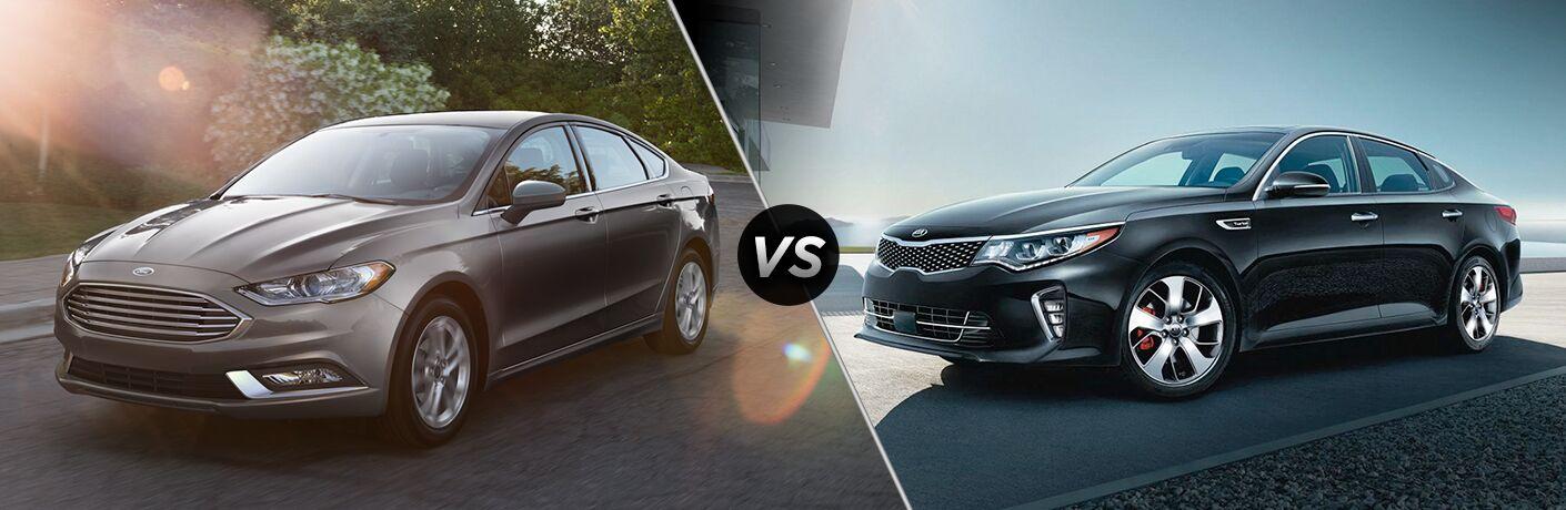 2018 Ford Fusion positioned next to 2018 Kia Optima in comparison image