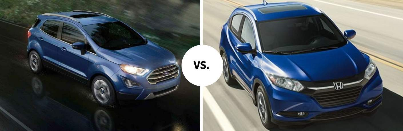 Blue 2018 Ford EcoSport and Honda HR-V models driving next to each other in comparison image