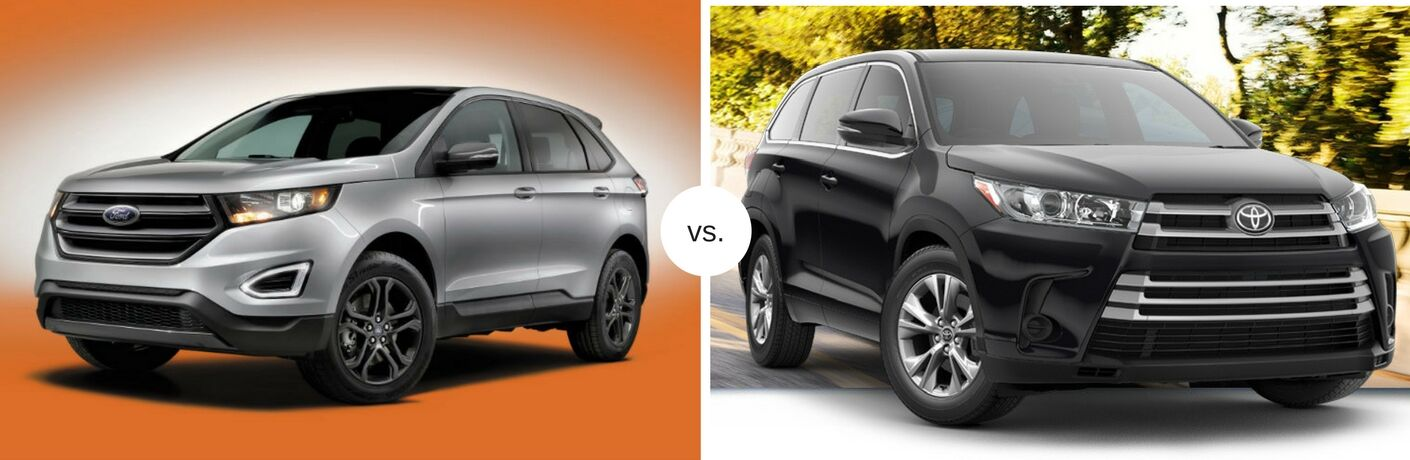 Silver 2018 Ford Edge next to black 2018 Toyota Highlander in comparison