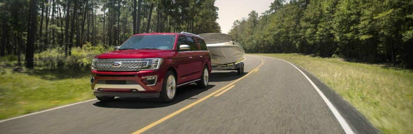 2018 Ford Expedition towing a boat