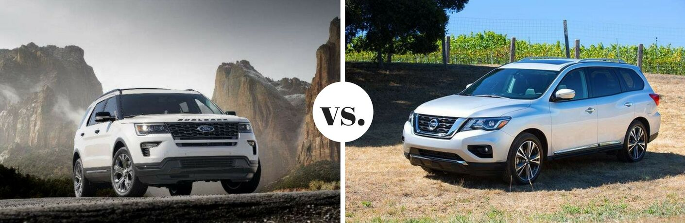 White 2018 Ford Explorer and 2018 Nissan Pathfinder models parked next to each other in comparison image