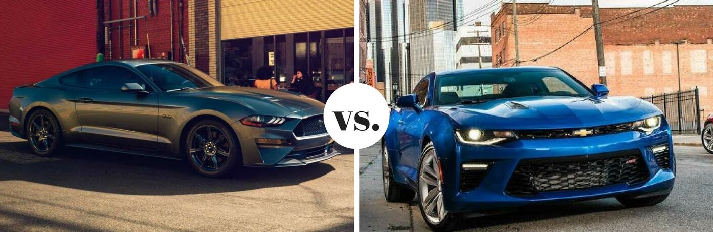 Silver 2018 Ford Mustang positioned next to blue 2018 Chevrolet Camaro in comparison image