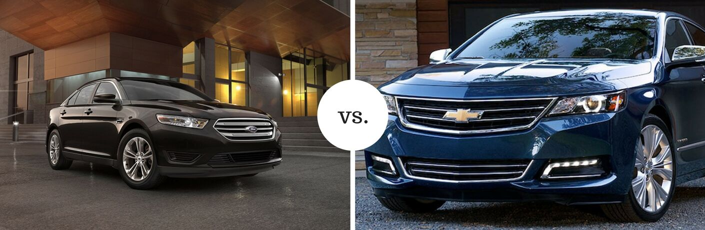 2018 Ford Taurus positioned next to 2018 Chevrolet Impala in comparison image