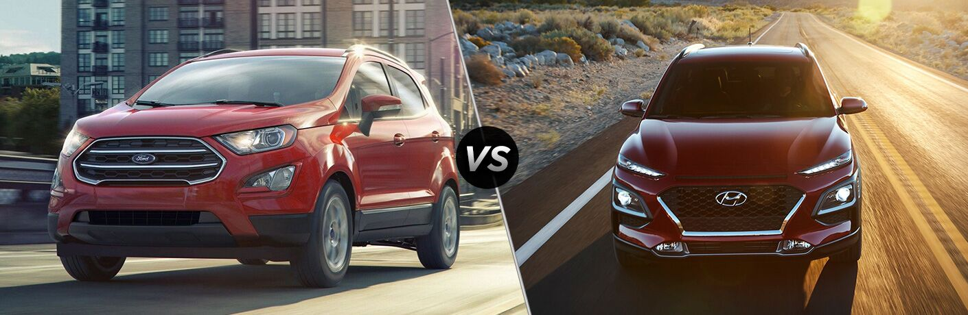 Red 2019 Ford EcoSport and Hyundai Kona models in comparison image