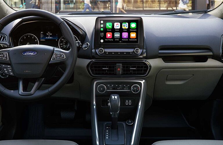Steering wheel and touchscreen of 2019 Ford EcoSport