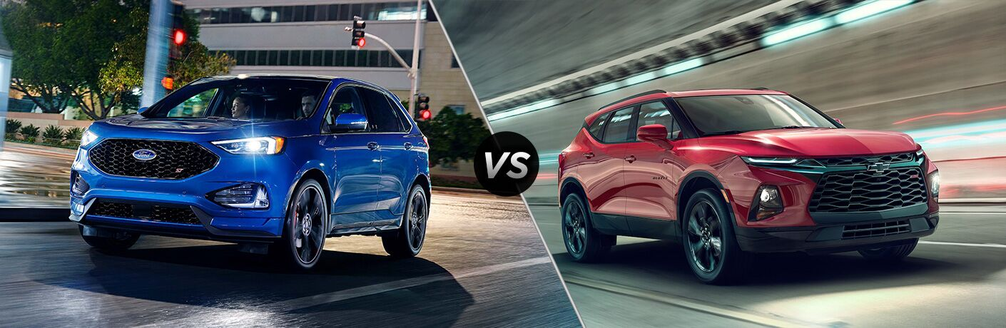 Blue 2019 Ford Edge next to red 2019 Chevrolet Blazer in comparison image