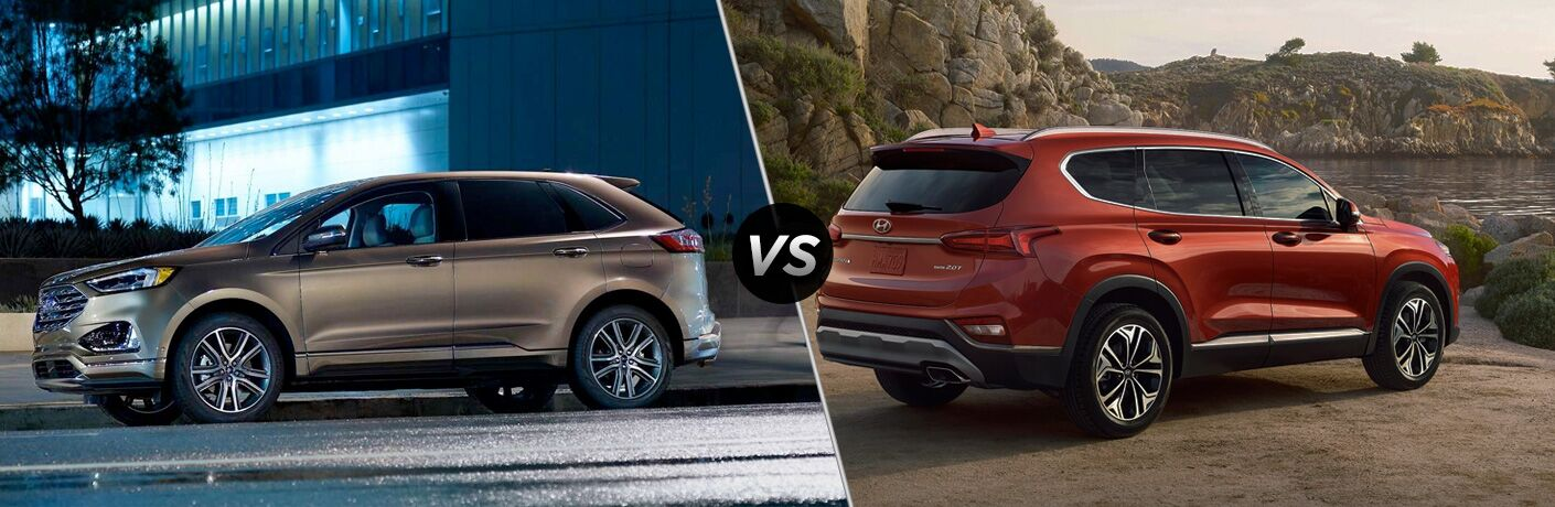 2019 Ford Edge and Hyundai Santa Fe in comparison image