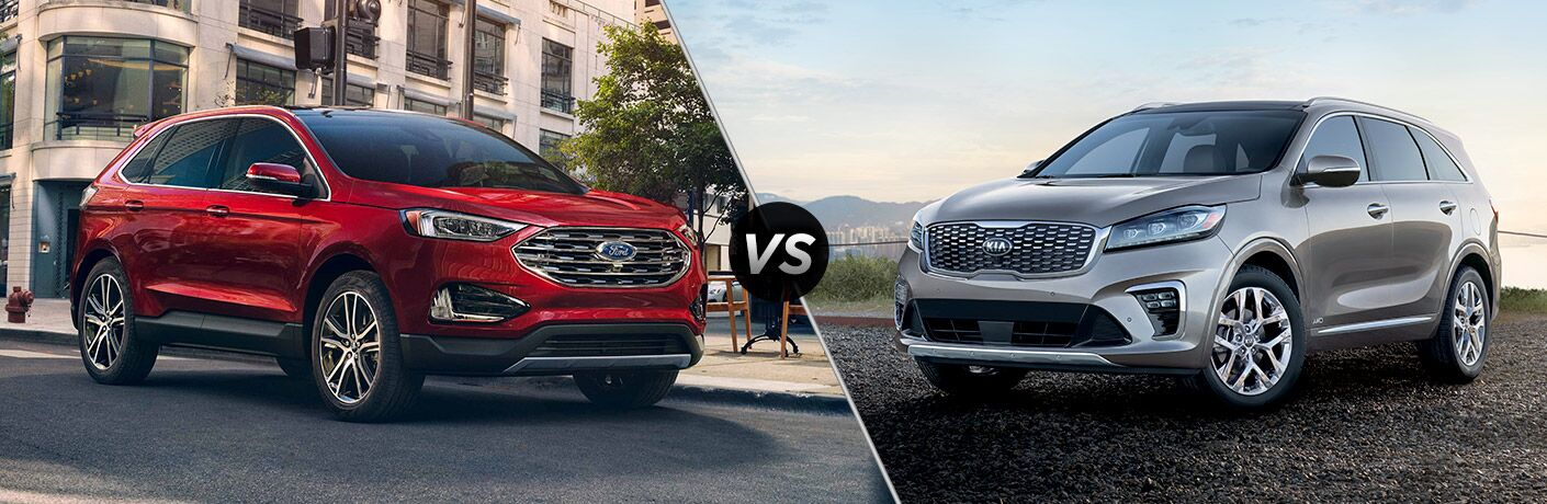 Red Ford Edge and Silver Kia Sorento in comparison