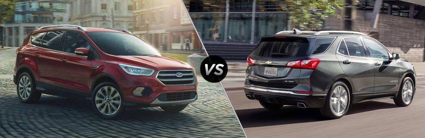 2019 Ford Escape and Chevrolet Equinox positioned in comparison image