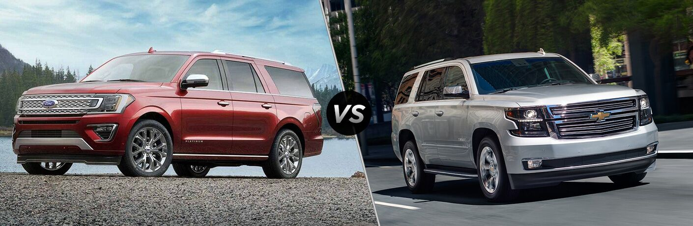 Red 2019 Ford Expedition and silver 2019 Chevy Tahoe in comparison image