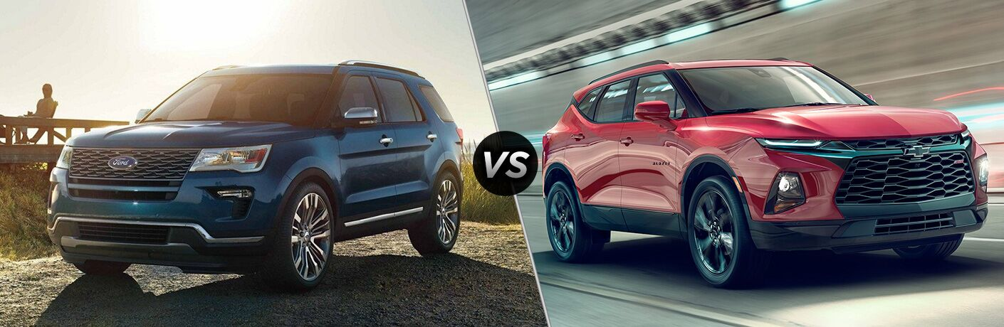 Blue 2019 Ford Explorer next to red 2019 Chevrolet Blazer in comparison image