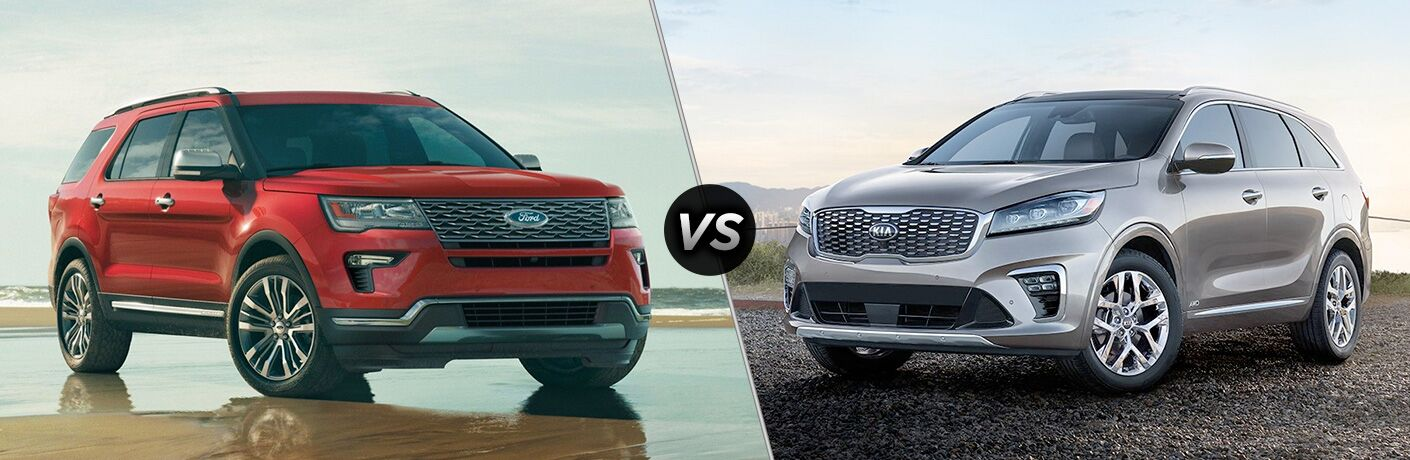Red 2019 Ford Explorer next to silver 2019 Kia Sorento in comparison image