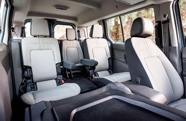 Three rows of seats inside 2019 Ford Transit Connect Wagon
