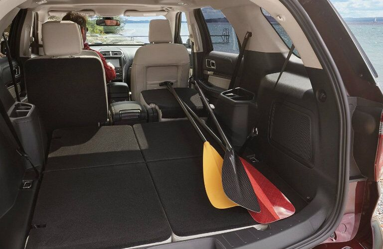 Rear cargo area of 2019 Ford Explorer