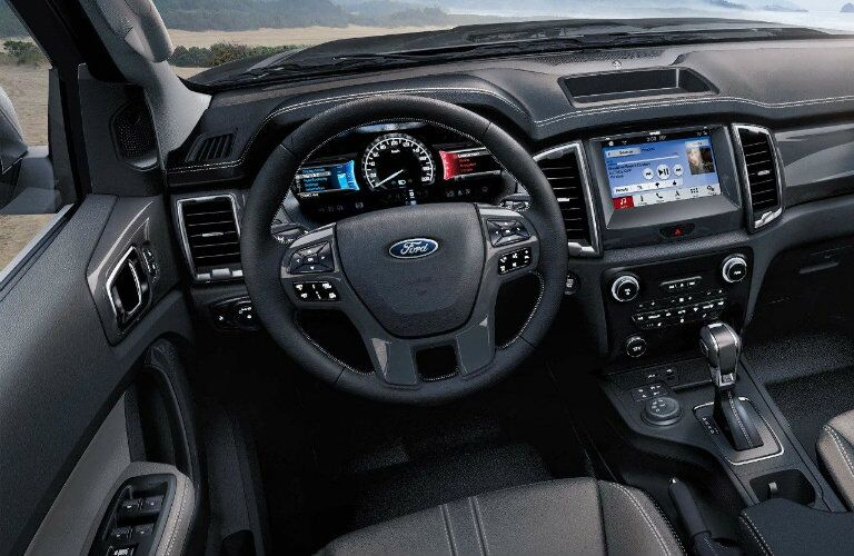 Steering wheel and touchscreen of 2019 Ford Ranger