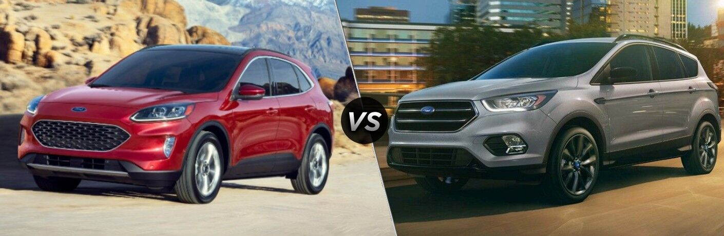 A red 2020 Ford Escape compared with a gray 2019 Ford Escape