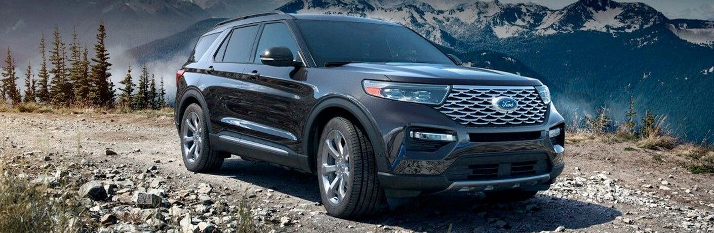 2020 Ford Explorer exterior front fascia passenger side in front of rocks