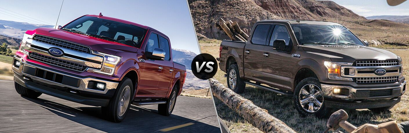 """2020 Ford F-150 and 2019 Ford F-150, separated by a diagonal line and a """"VS"""" logo."""