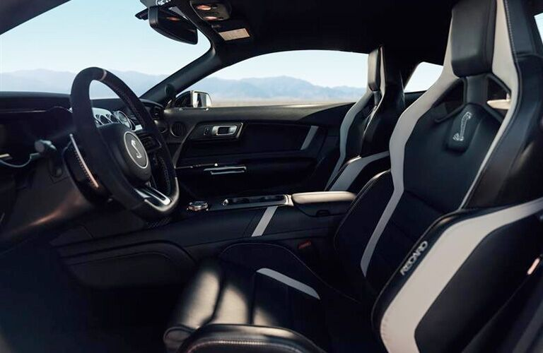 Sport seats and steering wheel of 2020 Ford Mustang Shelby GT500